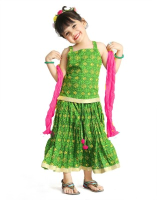 Little Pockets Store Girls Top and Skirt Set at flipkart