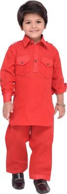 AJ Dezines Boys Festive & Party Pathani Suit Set(Red Pack of 1)