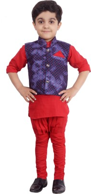 Ahhaaaa Boys Kurta, Waistcoat and Dhoti Pant Set  available at flipkart for Rs.199