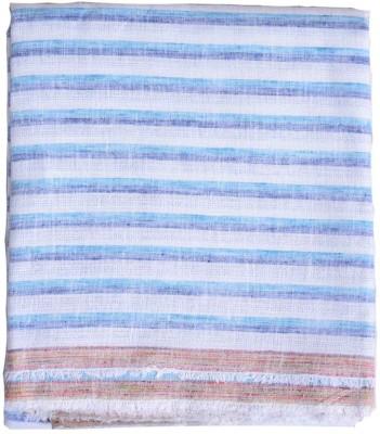 British Terminal Cotton Striped Shirt Fabric(Un-stitched), Darkblue