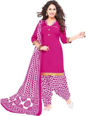Jevi Prints Cotton Polka Print Salwar Suit Dupatta Material(Un-stitched)