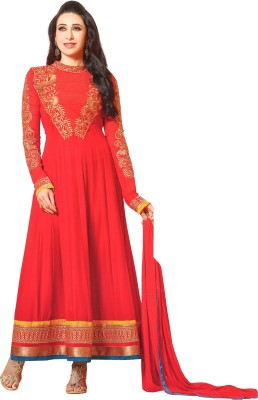 Reya Poly Georgette Embroidered Salwar Suit Material(Semi Stitched) at flipkart