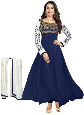 WXW Fashion Georgette Embroidered Semi-stitched Salwar Suit Dupatta Material