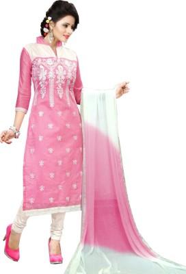 Fashion Ritmo Cotton Embroidered, Self Design Semi-stitched Salwar Suit Dupatta Material
