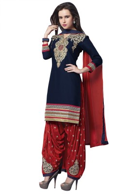 Patiala House Cotton Blend Embroidered Salwar Suit Material(Unstitched)
