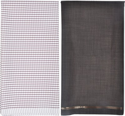 Gwalior Suitings Polycotton Checkered Shirt & Trouser Fabric(Unstitched)