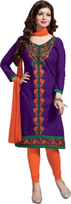 FabPandora Cotton Embroidered Semi-stitched Salwar Suit Dupatta Material