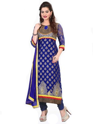 Navya Georgette Embroidered Semi-stitched Salwar Suit Dupatta Material  available at flipkart for Rs.3499