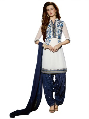 Patiala House Poly Georgette Embroidered Salwar Suit Material(Unstitched)