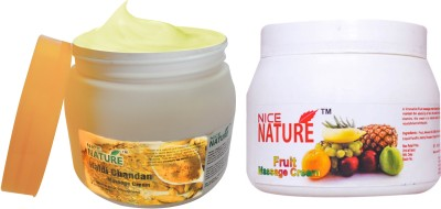 Nice Nature COMBO PACK OF HALDI CHANDAN & FRUIT MASSAGE CREAM(900 g)  available at flipkart for Rs.423