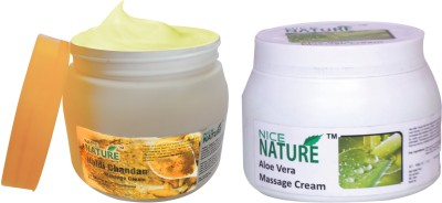 Nice Nature COMBO PACK OF HALDI CHANDAN & ALOE VERA MASSAGE CREAM(900 g)  available at flipkart for Rs.430