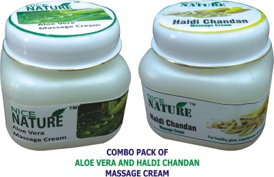 Nice Nature COMBO PACK OF ALOE VERA & HALDI CHANDAN MASSAGE CREAM(200 g)  available at flipkart for Rs.350
