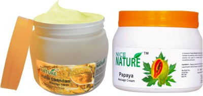 Nice Nature COMBO PACK OF HALDI CHANDAN AND PAPAYA MASSAGE CREAM(900 g)  available at flipkart for Rs.426