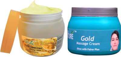 Nice Nature COMBO PACK OF HALDI CHANDAN & GOLD MASSAGE CREAM(900 g)  available at flipkart for Rs.425