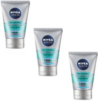 Nivea For Men Advanced Whitening Oil Control - (Pack of 3) Face Wash(150 ml)