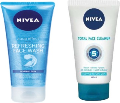 Nivea Refreshing Face Wash & Total Face Cleanup Combo Face Wash(100 ml)