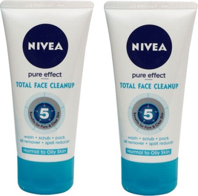 Nivea Pure Effect Total Face Cleanup Pack Of 2 Face Wash(50 ml)