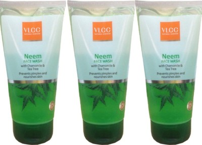 VLCC Neem With Chamomile & Tea Tree Face Wash Pack of 3 Face Wash(450 ml)