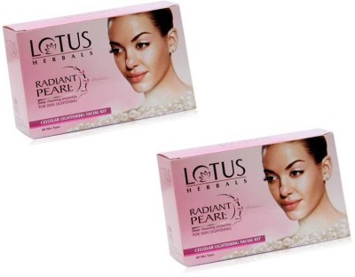 LOTUS Herbals Radiant Pearl Cellular Lightening Facial Kit   Pack of 2   2 x 37 g LOTUS Facial Kit