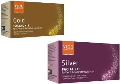 VLCC Gold And Silver Facial Kit with Cleanser, Toner, Scrub, Gel, Cream, Mask Herbal & Ayurvedic 60 g(Set of 2)