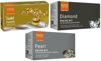 VLCC 3in1 Whitening Kit incudes Diamond, Gold, Pearl Facial kits Herbal & Ayurvedic 36.41 g(Set of 3)