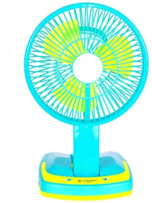 SURYATEJA Rechargeable Ac-Dc 2 Speed And 21 SMD Light 3 Blade Table Fan(GREEN/)  available at flipkart for Rs.829