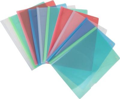 Enveear Stick File Series Polypropylene Stick Folders(Set Of 10, Transparent Natural, Transparent Blue, Transparent Green, Transparent Pink, Transparent Yellow)