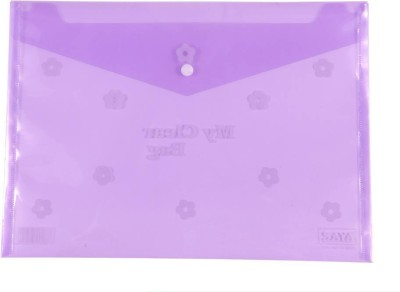 Saya Office Series Polypropylene Clear Bags And Envelopes(Set Of 12, Purple)