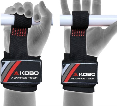 Kobo Gel Padded Weight Lifting Gym Straps Wrist Support Hand Grip/Fitness Grip Black