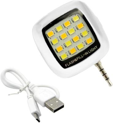 KOJO Portable Mini 16 LED Night Using Selfie Flash Fill-in Light Pocket Spotlight for all Smartphones & Apple phones Flash (Black) Flash(White)