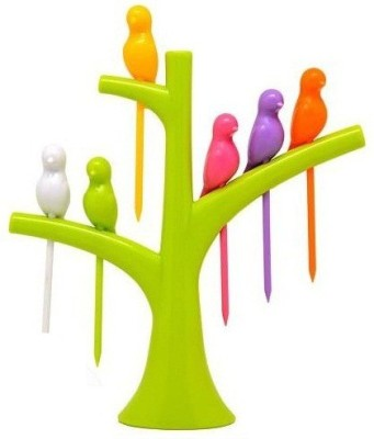 Shopo Birdie Disposable Plastic Fruit Fork Set(Pack of 7)