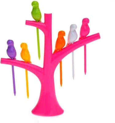 Luxantra Creative Birdies on a tree Plastic Fruit Fork Set(Pack of 7)