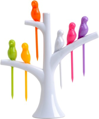 Absales Creative Birdies on a tree Disposable Plastic Fruit Fork Set(Pack of 7) at flipkart