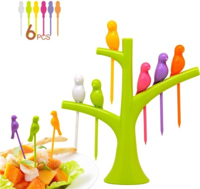 Dizionario Creative Birdie Stick 7 pc Disposable Plastic Fruit Fork Set(Pack of 7)  available at flipkart for Rs.199