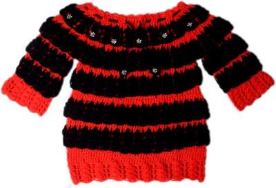 AV Embroidered Round Neck Baby Girls Red, Black Sweater