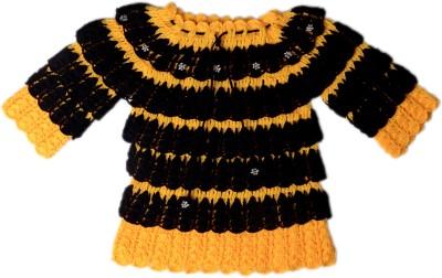 AV Embroidered Round Neck Baby Girls Yellow, Black Sweater
