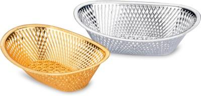 Sukhson India Plastic Fruit & Vegetable Basket(Silver, Gold) at flipkart