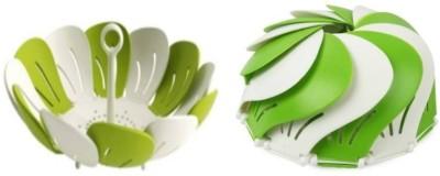 Bright Plastic Fruit & Vegetable Basket(Green, White)  available at flipkart for Rs.159