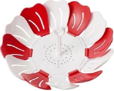 GoodsBazaar Shreeji Self Adjustable Foldable Lotus Shape Plastic Fruit & Vegetable Basket(Red, White)  available at flipkart for Rs.140