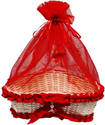 Sanskrite India Decorative Hand-Crafted Net Ribbon Diwali Gift Nylon Fruit & Vegetable Basket(Red) at flipkart