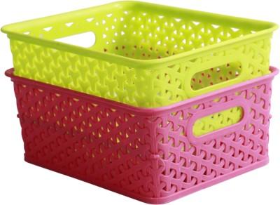 Dazzlingdelineations Plastic Fruit & Vegetable Basket(Green, Pink) at flipkart