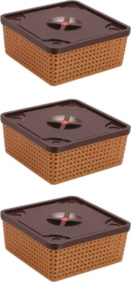 Nakoda Konark Basket 222 Pack of 3 Plastic Fruit & Vegetable Basket(Multicolor) at flipkart