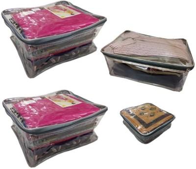 ffccfcd4ed8 70% OFF on Addyz Plain Combo Of 2 Pcs Large Saree Cover 1 Petticoat Case  With 1hankey Cover Storage Multipurpose Bag(Transparent) on Flipkart