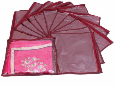 KUBER INDUSTRIES Designer Single Saree Cover 12 pcs set MKU73013 Maroon KUBER INDUSTRIES Garment Covers