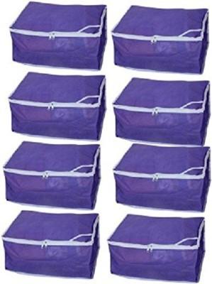 KUBER INDUSTRIES Designer Non woven Saree cover Set of 8 Pcs /Wardrobe Organiser/Regular Clothes Bag SC089 Blue KUBER INDUSTRIES Garment Covers