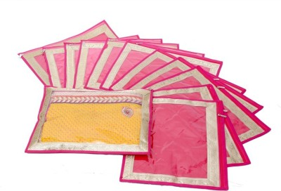 KUBER INDUSTRIES Designer Saree Cover in Heavy Quilted Satin Set of 12 Pcs MKU006637 Pink KUBER INDUSTRIES Garment Covers