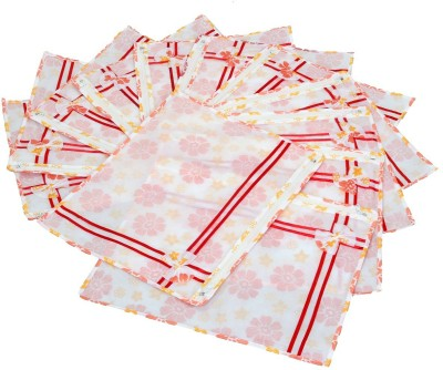 KUBER INDUSTRIES Designer Printed Non Wooven Saree Cover Set Of 12 Pcs  With Zip Lock  KUBS0008 White KUBER INDUSTRIES Garment Covers