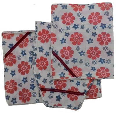 Indi Bargain Floral Print Non Woven Saree Blouse Petticoat Set Red, Blue Indi Bargain Garment Covers