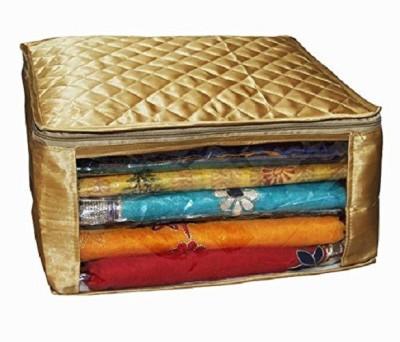 KUBER INDUSTRIES Designer Saree cover Set Of 9 Pcs large size in golden satin Wedding Gift SC070 Golden KUBER INDUSTRIES Garment Covers