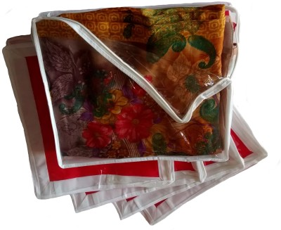 Indi Bargain Plain Medium Sized Combo of 5 Transparent Multi Saree Cover Red Indi Bargain Garment Covers